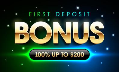 First Deposit Bonus casino banner, welcome bonus