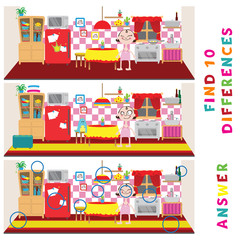 Find ten differences learning game for kids. Vector amusement activity.