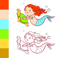 Cute mermaid with turtle. Coloring book page with example for children.