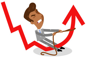 Vector illustration of an asian cartoon businessman trying to pull up downward pointing graph isolated on white background