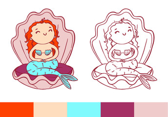 Coloring page. Cute cheerful mermaid in pink shell.