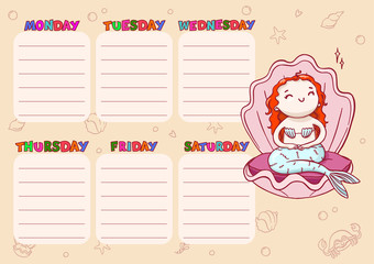 Daily school timetable for kids. Vector cartoon template with mermaid princess in shell.