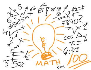 Hand drawn maths symbol and elements around orange bulb