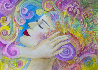 bella donna dipinto acquerello rilassamento concentrazione