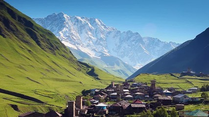 Fototapete - Ushguli village at the foot of Mt. Shkhara in morning light.
