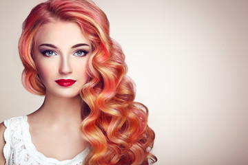 Foto auf Acrylglas Friseur Beauty Fashion Model Girl with Colorful Dyed Hair. Girl with perfect Makeup and Hairstyle. Model with perfect Healthy Dyed Hair. Rainbow Hairstyles