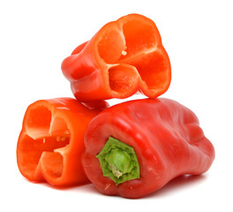 A red pepper in white background.