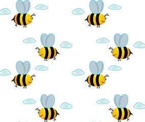 Little happy bee flies in the sky. pattern.