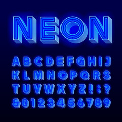 Retro sign alphabet. 3D vintage blue neon lamp letters and numbers. Signboard font. Stock vector typeface for any typography design.