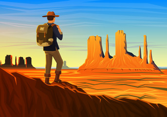 Mountain and Monument Valley with tourist, morning panoramic view, landscape early in daylight. travel camping, climbing, vector illustration. website or banner. Outdoor hill tops, Hunts Mesa, Arizona