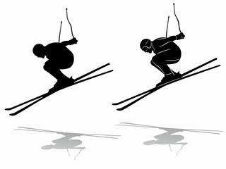 silhouette of a skier , vector draw