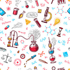 Chemistry seamless pattern. Chalkboard with elements, formulas, atom, test-tube and laboratory equipment. laboratory workspace and reactions research. science, education, medical. engraved hand drawn.