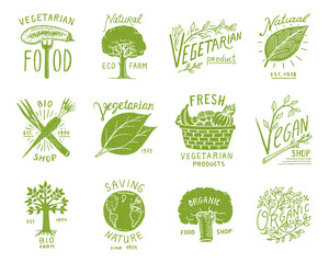Healthy Organic food logos set or labels and elements for Vegetarian and Farm green natural vegetables products, vector illustration. badges healthy life. engraved hand drawn in old sketch.