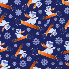 Polar bear cub on a snowboard. Winter sport. Seamless pattern. Colorful background image with cute teddy bears by snowboarders. Design for textiles, sports equipment packages.