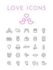Set of Quality Universal Standard Minimal Simple Valentine's Day Black Thin Line Icons on White Background