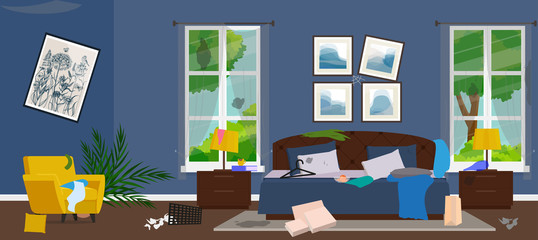 Dirty room. Disorder in the interior. Flat style vector illustration.
