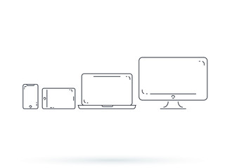 Device and gadget line art set. Laptop, smartphone, modern portable and compact personal computer machines