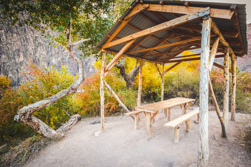 Tent with table for relax in canyon