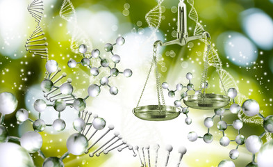 abstract image of the chain of DNA and libra on green background