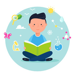 Boy Reading a Book on Science or Nature Study. Modern Vector Illustration