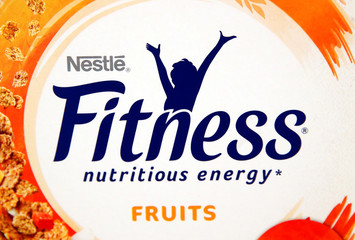 A Fitness sign is pictured on a box of cereals  in a shop at Nestle headquarters in Vevey