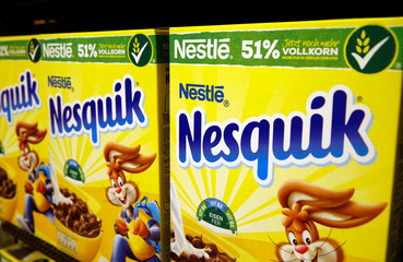 Boxes of Nesquik cereals are pictured in a shop at Nestle headquarters in Vevey