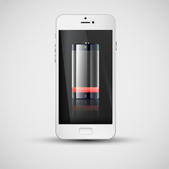 Realistic smartphone charging, vector illustration
