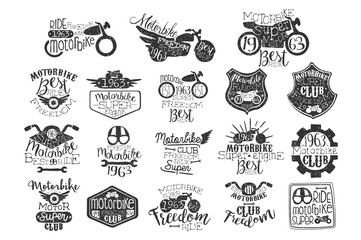 Hand drawn set of motorbike logos or stamps for biker club, repair service or motorcycle parts store. Original lettering. Vector for badge, label or t-shirt print