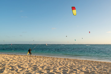 Kitesurfing on the Mauritius beach