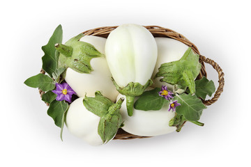 top view food white eggplants with flowers and leaf in basket isolated on white background
