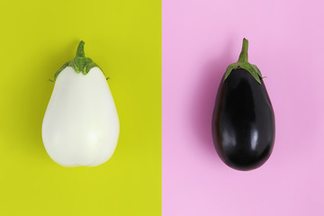 white and black eggplants isolated on green and pink background