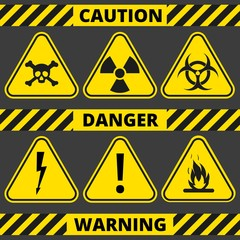 Set of signs the radiation, toxic, poison, flammable, voltage, warning. Seamless signal tapes caution, danger, warning.