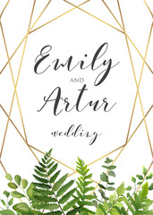Vector botanical Wedding floral invitation, invite, save the date card elegant, modern design with natural forest green fern leaves, greenery herbs, plants border and golden, luxury geometrical print