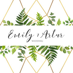 Beautiful Vector Wedding floral invitation, invite, save the date card  design with natural green forest leaves, greenery herbs plants border with golden luxury delicate geometrical print on backgrond