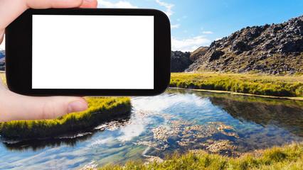 tourist photographshot river in Landmannalaugar