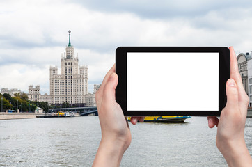 tourist photographs Moskva River in Moscow