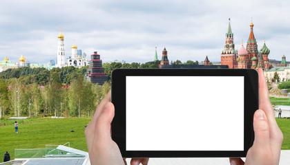 tourist photographs Zaryadye and Kremlin Towers