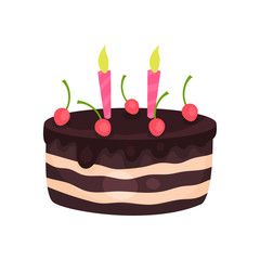 Birthday cake with three burning candles and red cherries. Tasty chocolate dessert. Cartoon flat vector design for greeting card or invitation