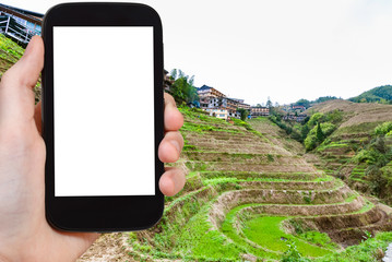tourist photographs Rice fields in Dazhai village