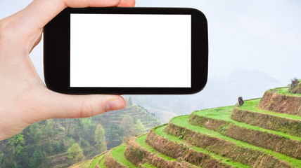 tourist photographs Rice Terraces in Longsheng