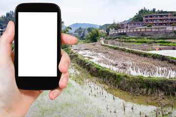tourist photographs rice fields in Chengyang