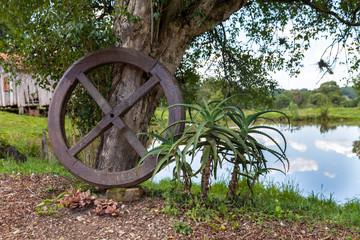 Paisagens naturais com rodas de madeira