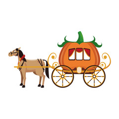 Pumpkin carriage with horse cartoon icon vector illustration graphic design