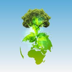 Green world, vector.