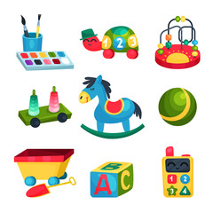 Collection of various children s toys. Ball, rocking horse, ABC cube, bead maze, turtle with numbers, paints with brushes. Fun and educational games. Flat vector icons