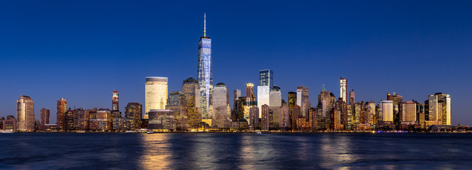 New York City Financial District skyline (Lower Manhattan) at twilight across the Hudson River