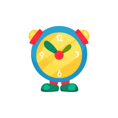 Cute children s alarm clock on legs. Learn to tell time. Educational kids toy. Cartoon flat vector illustration isolated on white