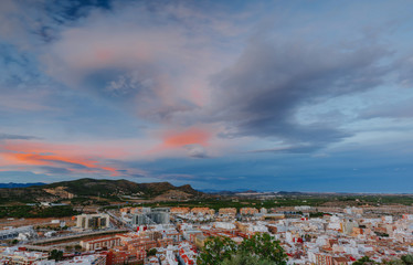 View on the castle Sagunto during sunny day and cloudy sunset