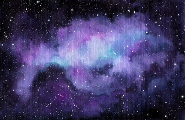 Watercolor Night Sky and Violet Cloud
