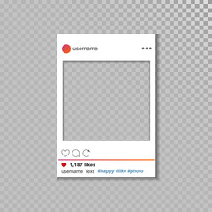 Social network vector photo frame template.